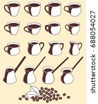 icons cups and bean of coffee  ... | Shutterstock . vector #688054027