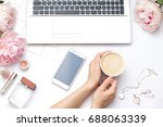beauty flat lay with a laptop ...   Shutterstock . vector #688063339