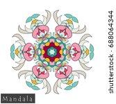 floral symmetrical geometrical... | Shutterstock .eps vector #688064344