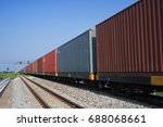 cargo train platform with... | Shutterstock . vector #688068661