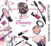 cosmetics and beauty background ... | Shutterstock . vector #688075759