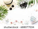 traveler accessories  tropical... | Shutterstock . vector #688077034