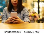 woman typing text message on... | Shutterstock . vector #688078759