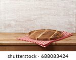 wooden tray with checked... | Shutterstock . vector #688083424