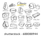 cheese collection. hand drawn ... | Shutterstock . vector #688088944