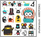 set of cute monsters isolated...   Shutterstock .eps vector #688092061