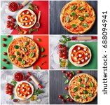 collage of delicious pizzas... | Shutterstock . vector #688094941