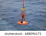 workers are lifted by the crane ... | Shutterstock . vector #688096171
