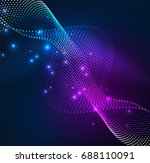 wave particles background   3d ... | Shutterstock . vector #688110091