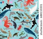 seamless  pattern of sea animals   Shutterstock .eps vector #688110331