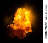 realistic fiery explosion with