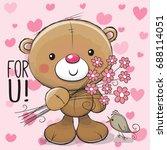 greeting card cute cartoon... | Shutterstock .eps vector #688114051