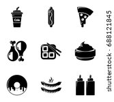 unhealthy food icons set.... | Shutterstock .eps vector #688121845