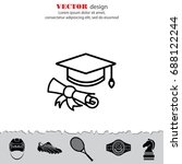 web line icon. student cap with ... | Shutterstock .eps vector #688122244