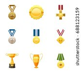 honorable medals icons set.... | Shutterstock .eps vector #688123159