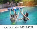 friends having party  in a... | Shutterstock . vector #688123597