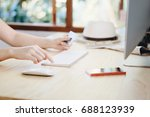 hand of woman holding credit... | Shutterstock . vector #688123939