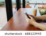 hand of woman use smart phone... | Shutterstock . vector #688123945