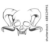 human skull with horns and... | Shutterstock .eps vector #688124941