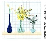 set of flowers in jar   Shutterstock .eps vector #688133011