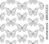 butterflies. seamless pattern ... | Shutterstock .eps vector #688142311