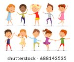 set of isolated boys and girls... | Shutterstock .eps vector #688143535