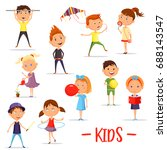 set of isolated boys and girls... | Shutterstock .eps vector #688143547