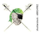 window sticker with pirate skull