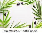 bamboo leaf background. white... | Shutterstock . vector #688152001