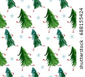 seamless pattern with christmas ... | Shutterstock . vector #688155424