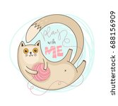 Stock vector play with me cat vector illustration 688156909
