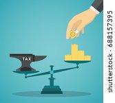businessman use coins balancing ... | Shutterstock .eps vector #688157395