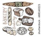 fresh baked bread. hand drawn... | Shutterstock .eps vector #688160221
