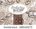 fresh baked bread. hand drawn... | Shutterstock .eps vector #688160275