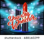 makeup red lipstick advertising ... | Shutterstock . vector #688160299