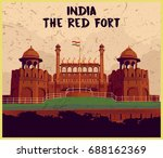 indian monument the red fort | Shutterstock .eps vector #688162369