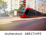 tram moving  on a street of... | Shutterstock . vector #688171495