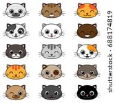 set of different cartoon cats... | Shutterstock . vector #688174819