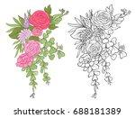 set of colored and outline... | Shutterstock .eps vector #688181389