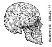 sugar skull. the traditional... | Shutterstock .eps vector #688181479
