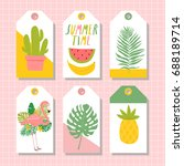 set of six summer labels with... | Shutterstock .eps vector #688189714