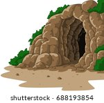 Cartoon Cave Isolated On White...