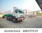 lpg transferring truck was... | Shutterstock . vector #688195519