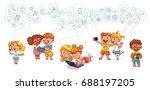 kids talking on the phone. boy... | Shutterstock .eps vector #688197205