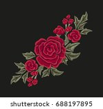 embroidered red flowers. roses... | Shutterstock .eps vector #688197895