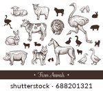farm animals handdrawn vintage... | Shutterstock .eps vector #688201321