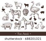 Farm Animals Handdrawn Vintage...