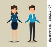 interactive business people... | Shutterstock .eps vector #688211407