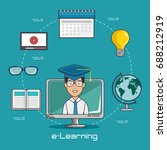 online education and e learning ... | Shutterstock .eps vector #688212919