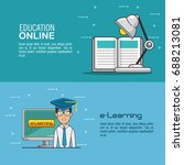 online education and e learning ... | Shutterstock .eps vector #688213081